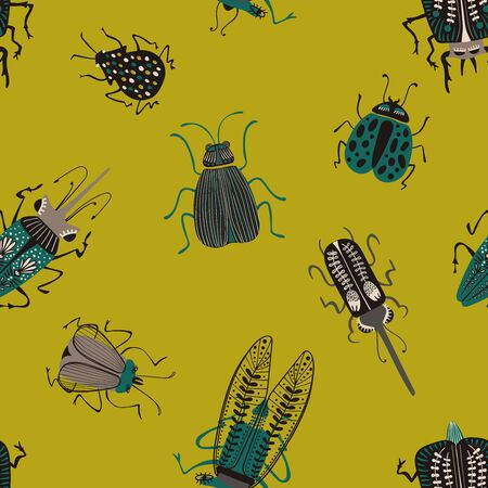 Folk art ornate insects background. Colorful seamless pattern of bugs with decorated wings.  Illusztráció