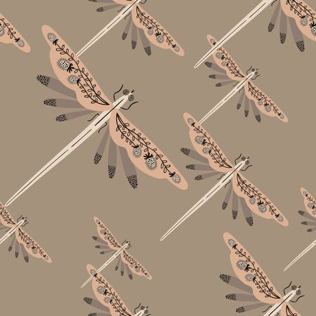 Folk art ornate insects background. Colorful seamless pattern of dragonflies with decorated wings.