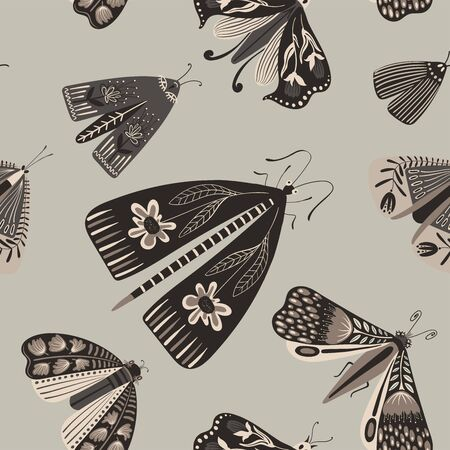 Folk art ornate insects background. Monochrome seamless pattern of night moths with decorated wings.