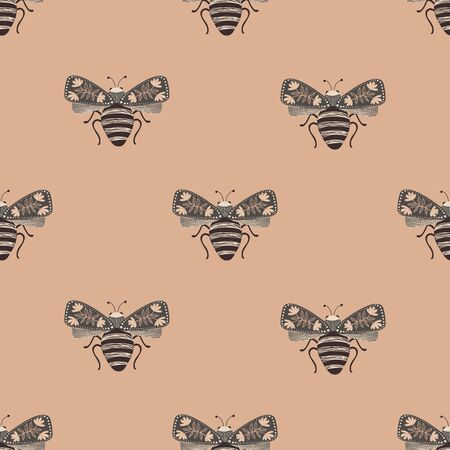 Folk art ornate insects background. Colorful seamless pattern of hight moths with decorated wings.