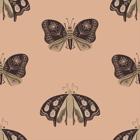 Folk art ornate insects background. Colorful seamless pattern of night moths with decorated wings.