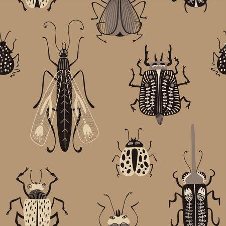 Folk art ornate insects background. Seamless pattern of bugs with decorated wings. Illusztráció