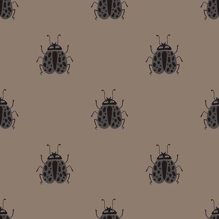 Folk art ornate insects background. Monochrome seamless pattern of bugs with decorated wings. Illusztráció