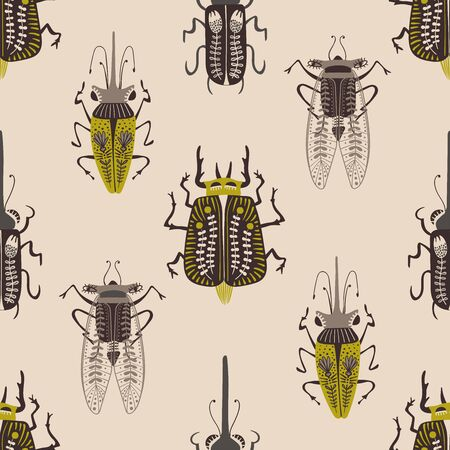 Folk art ornate insects background. Colorful seamless pattern of bugs with decorated wings.