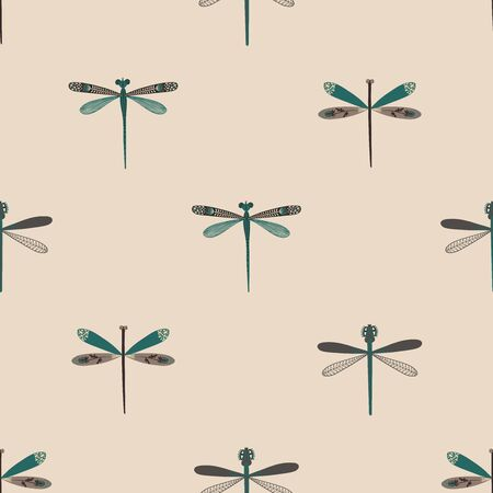 Folk art ornate insects background. Colorful seamless pattern of dragonflies with decorated wings. Ilustração