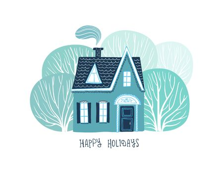 Christmas holiday greeting card with rural scene -magic house in the deep forest.