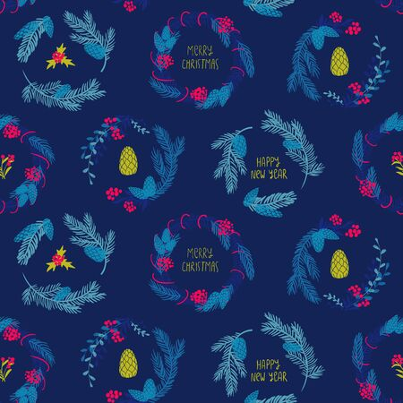 Funny seamless pattern of christmas decoration. Colorful holiday wreaths on a blue background. Reklamní fotografie - 134658416