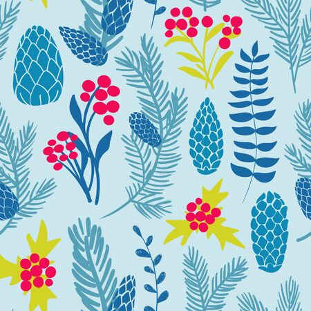 Funny seamless pattern of christmas decoration. Colorful holiday spruce paws, cones and mistletoe on a blue background.