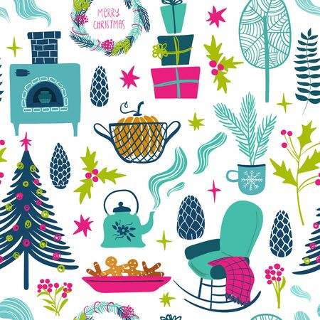 Funny seamless pattern of christmas symbols. Colorful winter holiday elements on a white background.