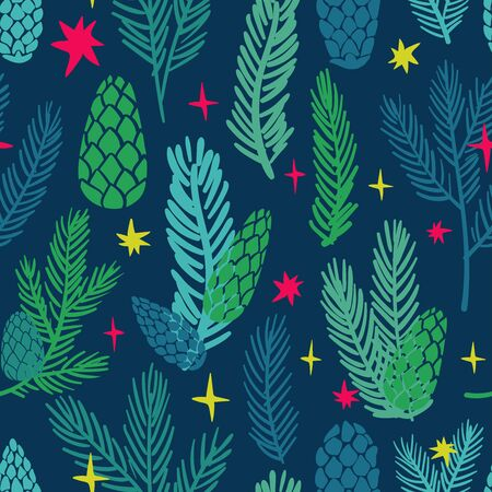 Funny seamless pattern of christmas decoration. Colorful holiday spruce paws and cones on a deep blue background.