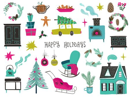 Colorful set of isolated Christmas and New Year icons. DIY winter holiday decoration elements.