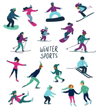 Winter sports illustration. Set of isolated skating, skiing and snowboarding people icons.