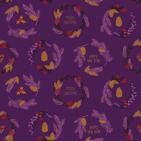 Funny seamless pattern of christmas decoration. Colorful holiday wreaths on a purple background.