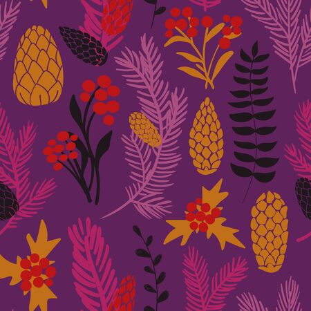 Funny seamless pattern of christmas decoration. Colorful holiday spruce paws, cones and mistletoe on a purple background.