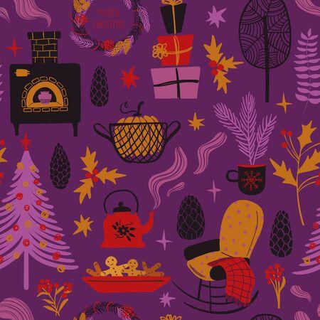Funny seamless pattern of christmas symbols. Colorful winter holiday elements on a purple background. Reklamní fotografie - 134658433