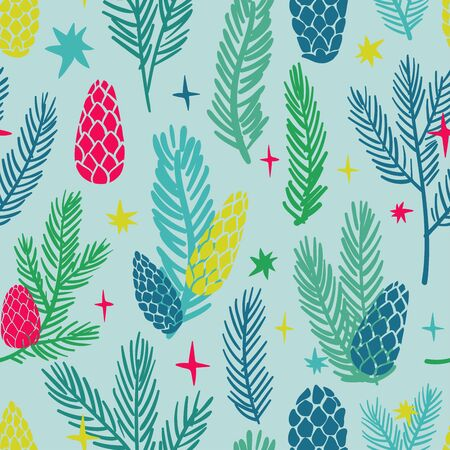 Funny seamless pattern of christmas decoration. Colorful holiday spruce paws and cones on a blue background. Reklamní fotografie - 134658438