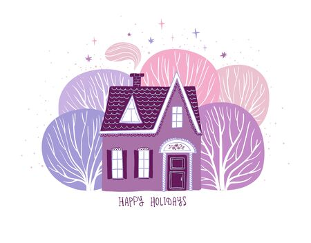 Christmas holiday greeting card with rural scene - magic house in the deep forest.