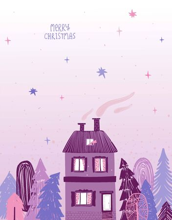 Christmas holiday greeting card with rural scene - house in deep forest and starry sky at foggy night.