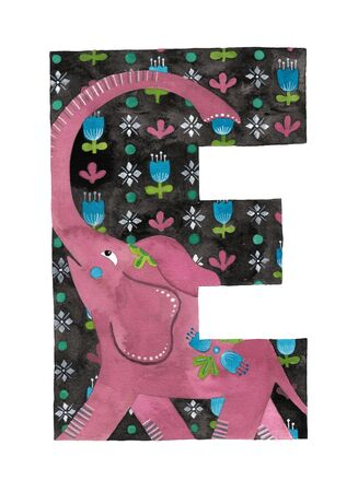Gouache hand painted letter E with illustrated elephant make a pattern inside. Isolated on a white background. Wild animal alphabet collection.