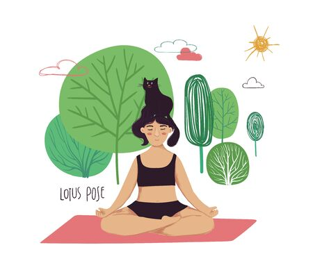 Funny cartoon yoga card. Vector illustration of plus size girl doing yoga with a cat. Lotus pose.