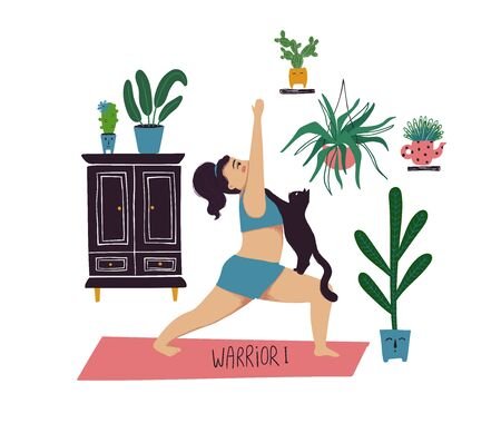 Funny cartoon yoga card. Vector illustration of plus size girl doing yoga with a cat. Warrior I pose.