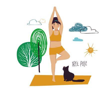 Funny cartoon yoga card. Vector illustration of plus size girl doing yoga with a cat. Tree pose.