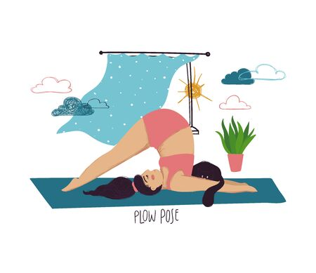Funny cartoon yoga card. Vector illustration of plus size girl doing yoga with a cat. Plow pose. 일러스트