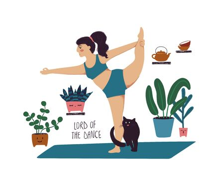 Funny cartoon yoga card. Vector illustration of plus size girl doing yoga with a cat. Lord of the dance pose.