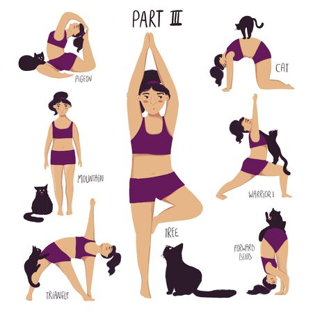 Funny cartoon yoga set. Collection of plus size girl doing yoga with a cat. Isolated poses with names. Part 3.