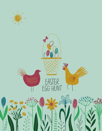 Happy Easter greeting card template. Flowers, chicken, rooster and basket full of eggs.
