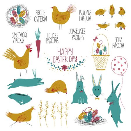 Happy Easter collection with isolated funny elements - plants, birds, animals and eggs. Lettering greetings in different languages - English, Russian, Italian, German, Spanish, Portuguese, French.