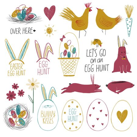 Happy Easter collection with colorful isolated funny elements - lettering, plants, birds, animals and eggs.