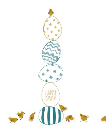 Happy Easter greeting card template. Easter decorative chicken eggs and funny yellow chicks.