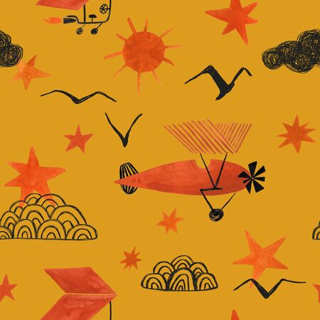 Funny seamless pattern with flying airplane and aircraft on an yellow background. Gouache painted kids nursery wallpaper design.