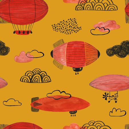 Funny seamless pattern with flying airships on an yellow background. Gouache painted kids nursery wallpaper design. Standard-Bild