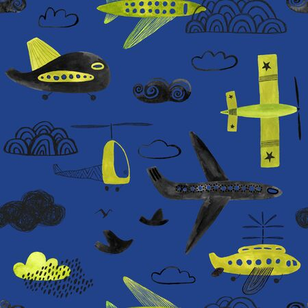 Seamless pattern with flying air planes and helicopters on a blue background. Gouache painted boys nursery wallpaper design.