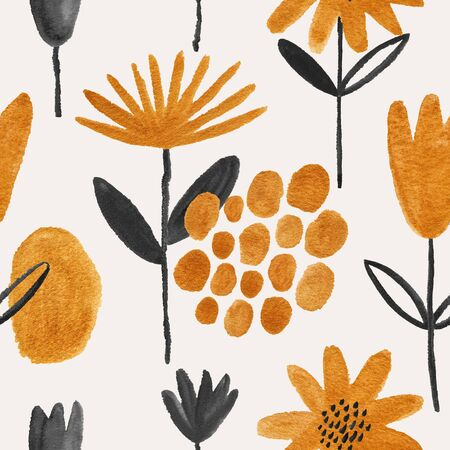Abstract seamless pattern with golden and black flowers on a white background. Hand painted gouache wallpaper.