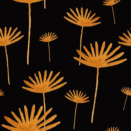 Abstract seamless pattern with golden flowers on a black background. Funny kids hand painted gouache wallpaper.