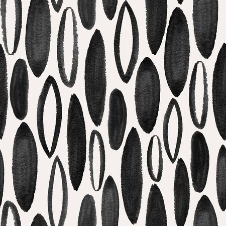 Abstract seamless pattern with black shapes on a white background. Hand painted gouache wallpaper.