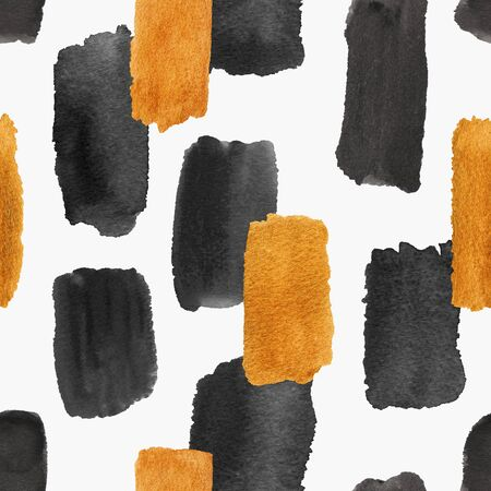 Abstract seamless pattern with golden and black brush strokes on a white background. Hand painted gouache wallpaper.