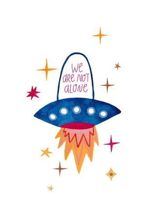 Funny illustration with spaceship or flying saucer. Kids gouache hand painted cosmic poster or card. Standard-Bild