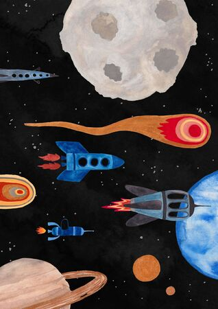 Illustration with flying spaceships, planets and comet. Kids gouache hand painted cosmic poster or card.
