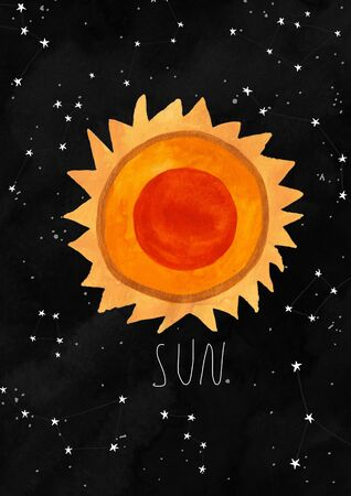 Illustration with the Sun on a black watercolor background. Kids gouache hand painted cosmic poster or card.