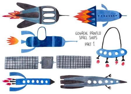 Set of funny isolated spaceships. Kids gouache hand painted cosmic transport collection. Part 1
