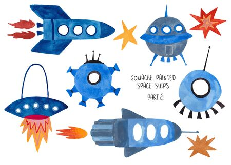 Set of funny isolated spaceships. Kids gouache hand painted cosmic transport collection. Part 2 Standard-Bild