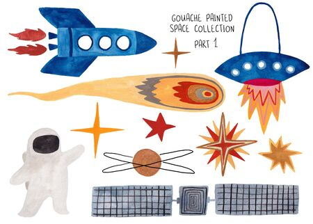 Set of funny isolated spaceships, astronaut, stars and comet. Kids gouache hand painted cosmic collection. Part 1