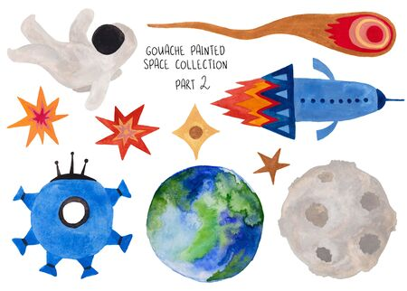 Set of funny isolated spaceships, astronaut, stars, planet, moon and comet. Kids gouache hand painted cosmic collection. Part 2 Standard-Bild