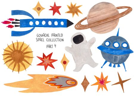 Set of funny isolated spaceships, astronaut, stars, sun, Saturn and comet. Kids gouache hand painted cosmic collection. Part 4 Standard-Bild