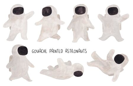Set of funny isolated astronauts. Kids gouache hand painted cosmic collection.
