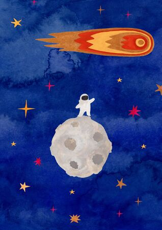 Funny illustration with spaceman standing on the Moon and flying comet. Kids gouache hand painted cosmic poster or card.